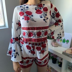 Floral Boho two piece set with flare sleeves and